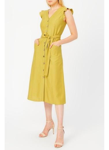 Random Kadın Önden Düğmeli Kolu Volanlı Elbise Yeşil